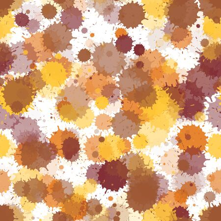 Watercolor paint transparent stains vector seamless wallpaper pattern. Colored ink splatter, spray blots, dirty spot elements seamless. Watercolor paint splashes pattern, smear liquid stains. Illustration