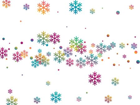 Crystal snowflake and circle shapes vector backdrop. Minimal winter snow confetti scatter flyer background. Flying colorful gradient snow flakes background, cool water crystals vector.