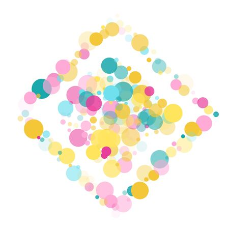 Memphis round confetti vintage background in teal, rose color, gold on white.  Childish pattern vector, children's party birthday celebration background.  Holiday confetti circles in memphis style.