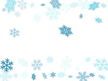 Winter snowflakes border trendy vector background.  Macro snowflakes flying border design, holiday card with flakes confetti scatter frame, snow elements. Seasonal winter symbols.