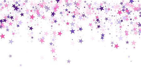 Flying stars confetti holiday vector in pink violet purple on white. Fairytale magic card backdrop. Cool flying stars scatter background. Twinkle starburst astral wallpaper.