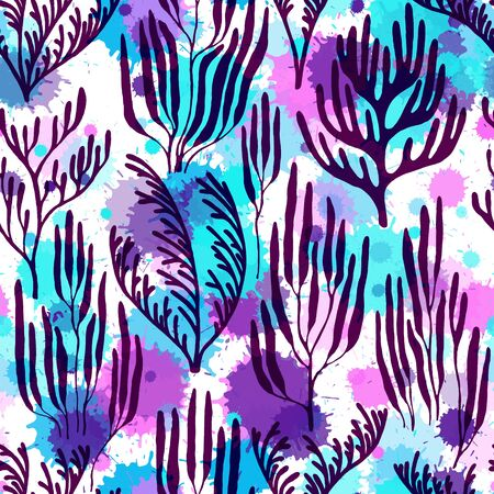 Ocean corals seamless pattern. Paint splashes drops watercolor background. Exotic marine life pattern. Aquarium water plants summer vector design. Tropical coral reef bush silhouette elements. Ilustracja