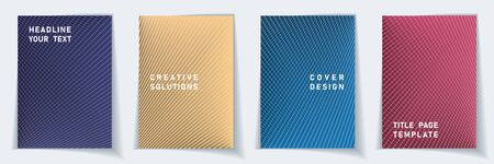 Cover page modern layout vector design set. Crossed lines dynamic background patterns. Flyer templates.  Scientific gradient title page graphic collectoin.