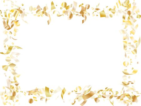 Gold shining confetti flying on white holiday poster background. Cool flying tinsel elements, gold foil texture serpentine streamers confetti falling carnival background.