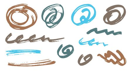 Simple scribble doodle graphic design vector elements. Cartoon marker traces. Paint brush strokes, circular swirls, wave lines. Scribble scratches, sketch doodle blots. Abstract freehand drawings.