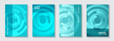 Promotional brochure front pages set. Futuristic presentation circle elements movement vector backgrounds. Aim goal achievement circles concept. Abstract magazine title pages templates. Çizim