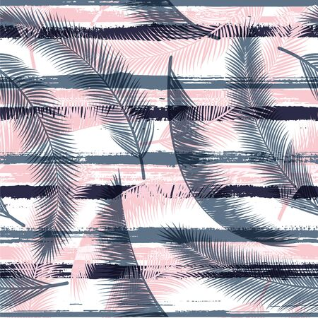 Stylish coconut palm leaves tree branches over painted stripes seamless pattern design. Bali forest foliage beach fashion fabric print. Floral tropical leaves seamless design.