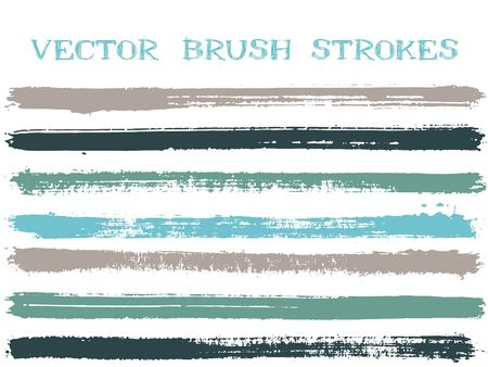 Futuristic ink brush strokes isolated design elements. Set of paint lines. Artistic Ink brushe stripes isolated on white, vector color palette samples. Illustration