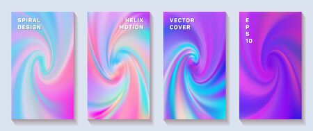 Fluid gradient spiral volute cover page templates vector set. Vivid brochure front pages collection. Flyer backgrounds with fluid colors dynamic helix patterns. Snail twirl tech booklet covers.