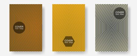 Brochure covers, posters, banners vector templates. Presentation backdrops. Halftone lines annual report templates. Minimal booklets. Geometric graphic design for booklet brochure covers.