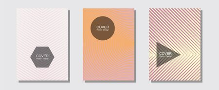 Cool flyers set, vector halftone poster backgrounds. Simple book covers. Halftone lines music poster background. Musical album adverts. Geometric lines shapes patterns set for flyer design. Çizim