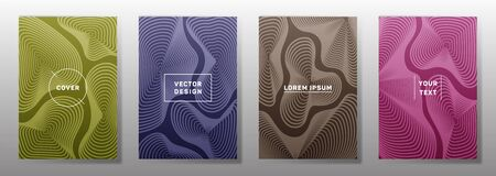 Dynamic cover templates set. Fluid curve shapes geometric lines patterns. Modern poster, flyer, banner vector backgrounds. Line stripes graphics, title elements. Cover page templates.