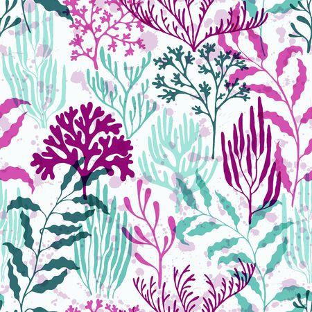 Ocean corals seamless pattern. Kelp laminaria seaweed algae background. Underwater plants textile print vector design. Exotic marine life pattern. Abstract Great Barrier Reef corals background.
