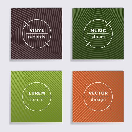 Retro plate music album covers collection. Halftone lines backgrounds. Tech plate music records covers, vinyl album mockups. DJ records geometric layouts. Techno party posters.