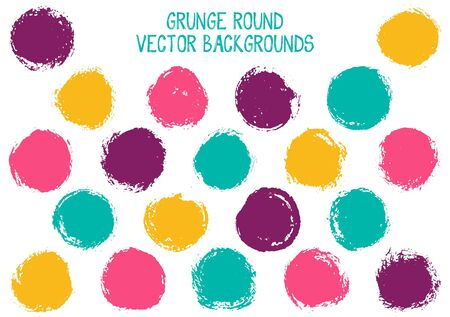 Vector grunge circles isolated. Cool watercolor stamp texture circle scratched label backgrounds. Circular icon, badge shape, round button elements. Grunge round shape banner backgrounds set. Çizim