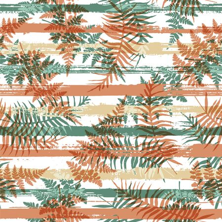 Tropical new zealand fern frond and bracken grass overlaying stripes vector seamless pattern. Madagascar exotic foliage beach fashion fabric print. Tropical leaves and stripes seamless.