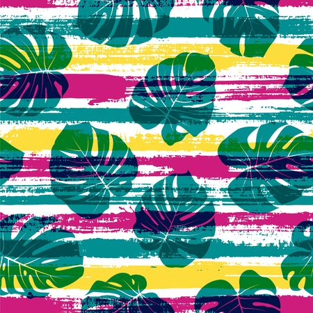Jungle monstera philodendron liana hole leaves over painted stripes seamless pattern design. Brazilian exotic foliage summer fashion print. Tropical leaves silhouettes wallpaper.