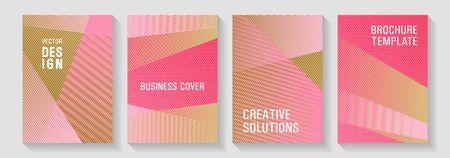 Linear geometry poster vector templates. Bauhaus minimal placard backgrounds. Rectangle leaflet box cards. Tech diagonal elements backdrops. Fashionable branding covers design set.