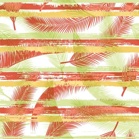 Jungle coconut palm leaves tree branches over painted stripes seamless pattern design. Brazilian jungle foliage swimwear textile print. Tropical leaves and stripes seamless. Çizim