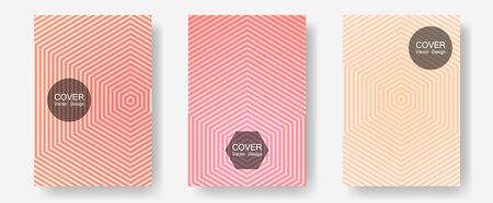 Geometric design templates for banners, covers. Advertising text space. Halftone lines annual report templates. Modern branding. Halftone brochure lines geometric design set.