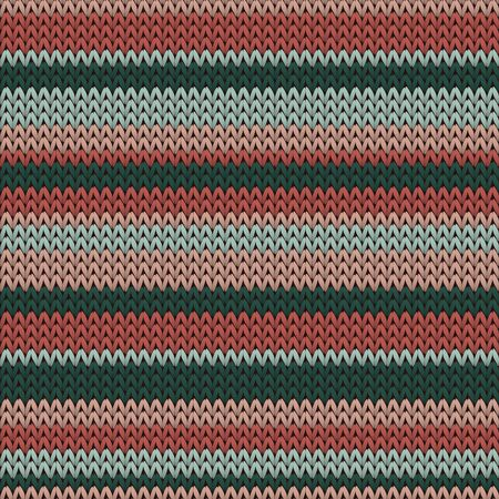 Cotton horizontal stripes knitted texture geometric vector seamless. Fair isle sweater knitwear fabric print. Fashionable seamless knitted pattern. Cozy textile print design. Çizim