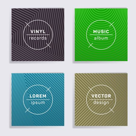 Geometric plate music album covers collection. Halftone lines backgrounds. Colorful plate music records covers, vinyl album mockups. DJ records disc vector mockups. Banners flyers cards set. Çizim