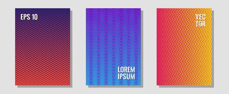 Banner graphics cool vector templates set. Educational notepads. Zigzag halftone lines wave stripes backdrops. Modern branding. Abstract banners graphic design with lined shapes.