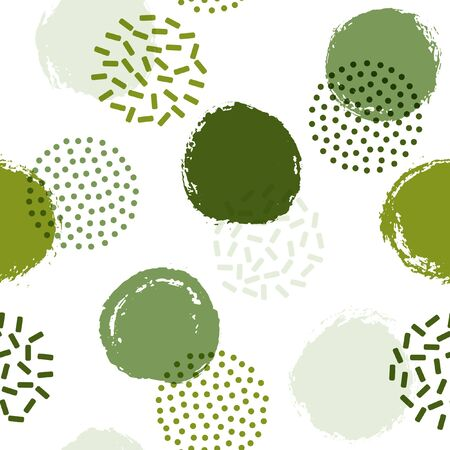 Memphis circles seamless textile print pattern. Hand drawn and halftone round shapes vector background. Grunge polka dot seamless ornament, simple circles wallpaper. Memphis style print design.