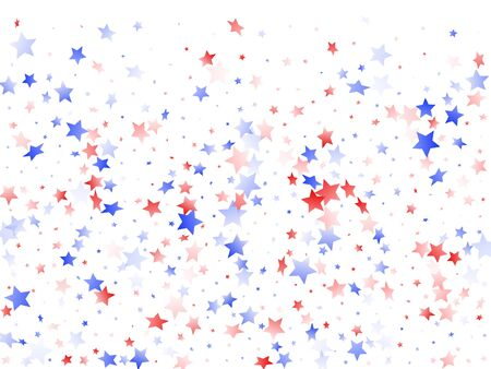 American Patriot Day stars background. Holiday confetti in USA flag colors for Patriot Day. Cool red blue white stars on white American patriotic vector. 4th of July stardust scatter.
