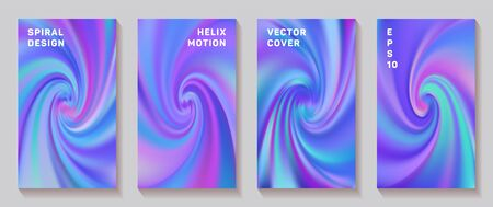 Gradient helix torsion spin cover page templates vector set. Soft brochure front pages collection. Flyer backgrounds with fluid colors dynamic helix patterns. Snail twirl tech booklet covers.