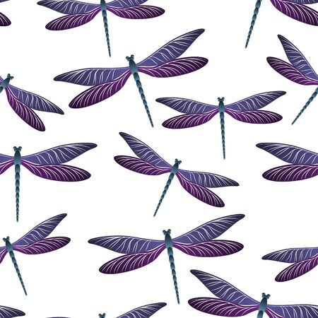 Dragonfly vintage seamless pattern. Spring clothes fabric print with darning-needle insects. Isolated water dragonfly vector background. Wildlife creatures seamless. Damselfly silhouettes.