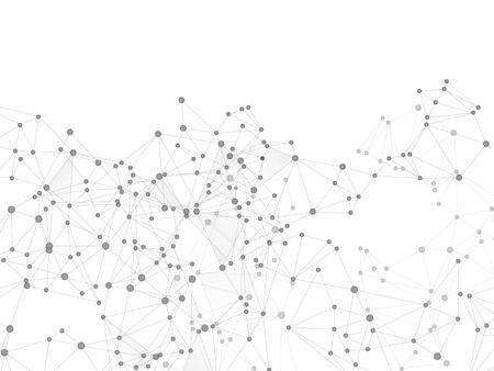 Concept cybernétique de structure de plexus géométrique. Nœuds de réseau fond de plexus en niveaux de gris. Grille nette de points de nœud, matrice de lignes. Toile de fond de perspective future. Vecteur de forme de grille de structure de coordonnées.