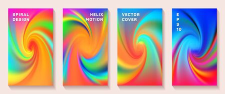 Gradient spiral rotation cover page templates vector set. Fuzzy brochure front pages collection. Banner backgrounds with fluid colors spiral motion patterns. Torsion screw tech booklet covers. Ilustrace