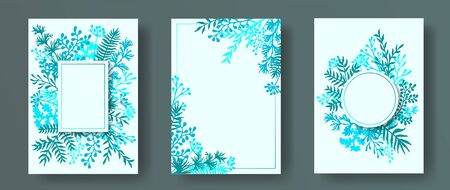 Hand drawn herb twigs, tree branches, flowers floral invitation cards templates. Bouquet wreath romantic cards design with dandelion flowers, fern, lichen, eucalyptus leaves, savory twigs. Illusztráció