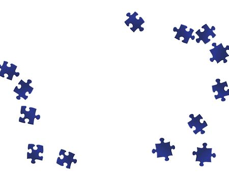 Game mind-breaker jigsaw puzzle dark blue parts vector illustration. Top view of puzzle pieces isolated on white. Problem solving abstract concept. Jigsaw pieces clip art.