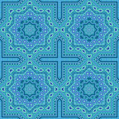 Luxury moroccan zellige tile seamless pattern. Geometric texture vector swatch. Tapis print design. Stylized moroccan zellige tilework recurrent pattern. Interior decor template.
