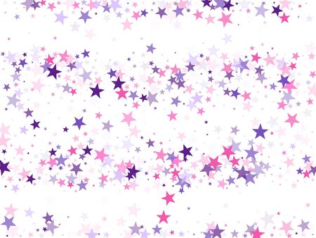 Flying stars confetti holiday vector in pink violet purple on white. Cosmic sparkles stylish design. Cute cartoon stars holiday vector. Abstract starburst modern confetti.