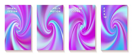 Fluid gradient swirl loop cover page templates vector set. Modern brochure front pages collection. Poster backgrounds with fluid colors twist rotation patterns. Vortex spin tech booklet covers. Ilustrace