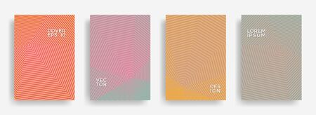 Hipster annual report design vector collection. Gradient grid texture cover page layout templates set. Report covers geometric design, business brochure pages corporate banners. Vetores
