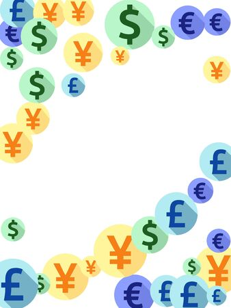 Euro dollar pound yen round icons flying currency vector design. Income pattern. Currency symbols british, japanese, european, american money exchange signs background.