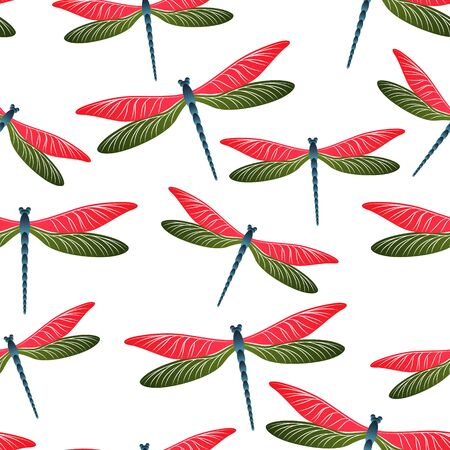Dragonfly flat seamless pattern. Repeating dress textile print with damselfly insects. Close up water dragonfly vector background. Wildlife organisms seamless. Damselflies with wings.