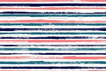 Ink brush stroke grunge stripes vector seamless pattern. Trendy linen fabric print design. Scratchy texture grunge stripes, lines on white background. Endless backdrop.