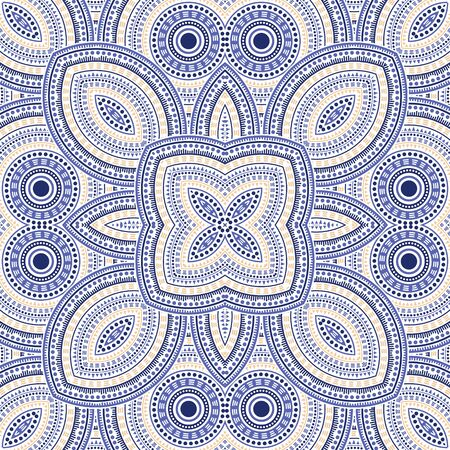 Cute portugese azulejo tile seamless rapport. Ethnic structure vector motif. Tapis print design. Stylized lisbon azulejo tilework seamless pattern. Wall decoration template. Illustration