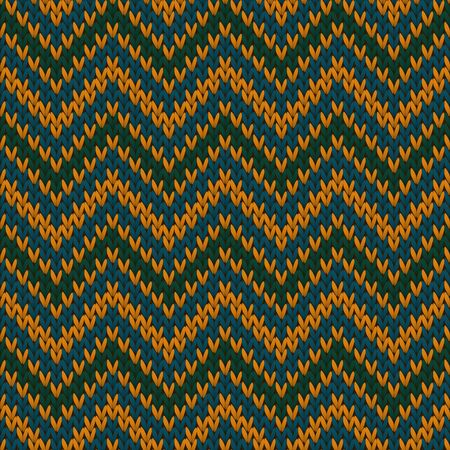 Bright chevron stripes christmas knit geometric seamless pattern. Ugly sweater knitting pattern imitation. Nordic style seamless knitted pattern. Repeatable background. Vettoriali