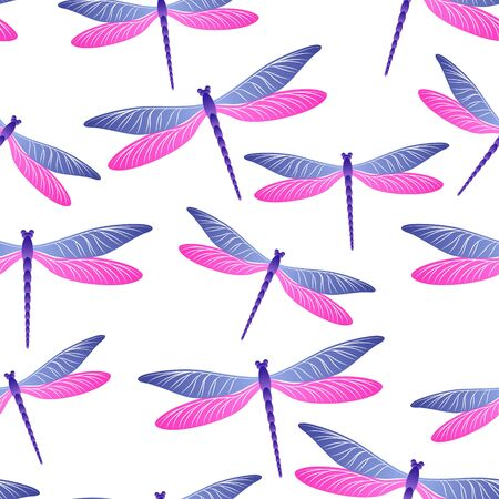 Dragonfly funky seamless pattern. Spring dress textile print with darning-needle insects. Isolated water dragonfly vector background. Nature creatures seamless. Damselfly butterflies.