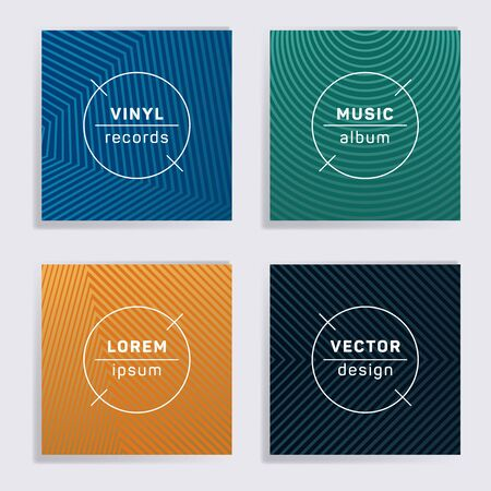 Vintage vinyl records music album covers set. Halftone lines backgrounds. Minimalistic creative vinyl music album covers, disc mockups. DJ records geometric layouts. Techno party posters.