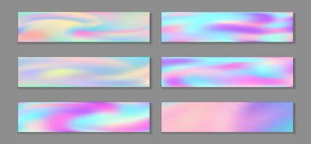 Neon holo minimal banner horizontal fluid gradient unicorn backgrounds vector set. Opalescence hologram texture gradients. Fluid graphic design fashionable unicorn backgrounds.