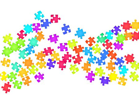 Business mind-breaker jigsaw puzzle rainbow colors pieces vector background. Group of puzzle pieces isolated on white. Teamwork abstract concept. Jigsaw match elements.