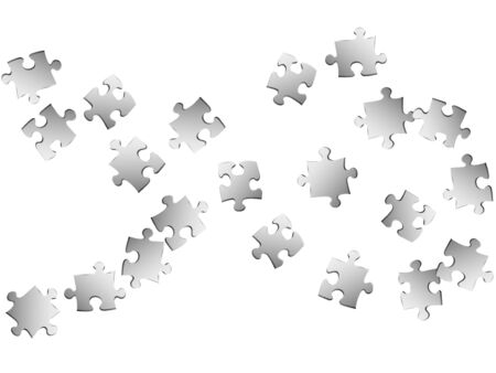 Business teaser jigsaw puzzle metallic silver parts vector illustration. Top view of puzzle pieces isolated on white. Cooperation abstract concept. Jigsaw match elements.