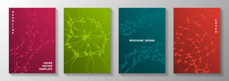 Machine learning idea abstract vector covers. Dynamic waves connection backdrops. Modern banner vector templates. Hi tech cover pages graphic design set.